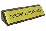 Brass Plate Mounted on Walnut Block